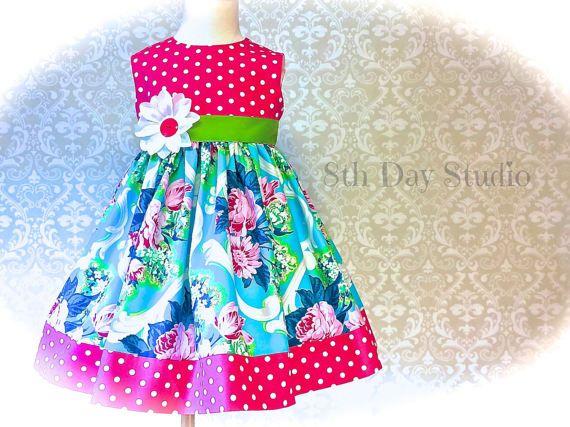 Girls Easter Dress Toddler Easter Dress Turquoise by 8thDayStudio #theverandateam