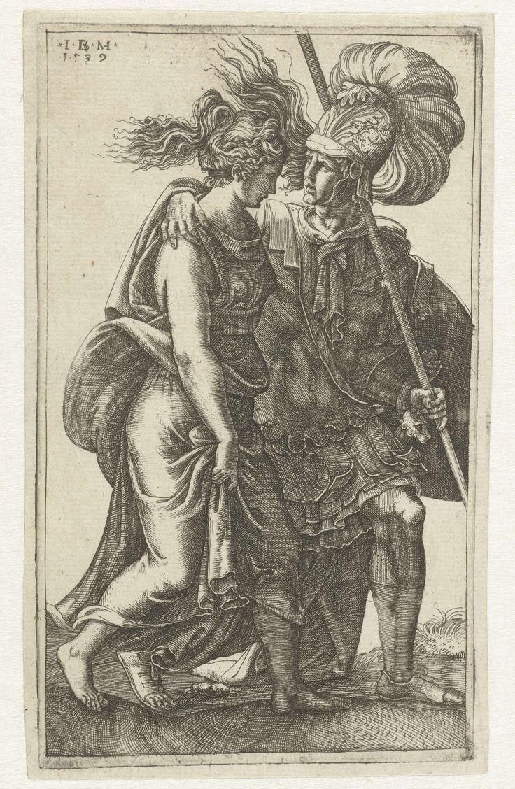 Giovanni Battista Ghisi | Romeinse krijger en jonge vrouw, Giovanni Battista Ghisi, Giulio Romano, 1539 | Een Romeinse krijger loopt naast een jonge vrouw, de arm om haar schouder geslagen.
