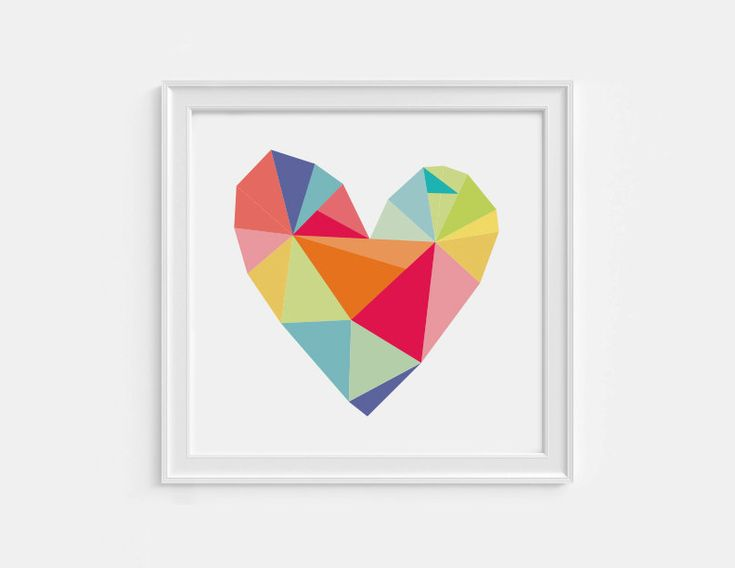 Geometric heart print 8X8 printable art by HelloOliveDesigns