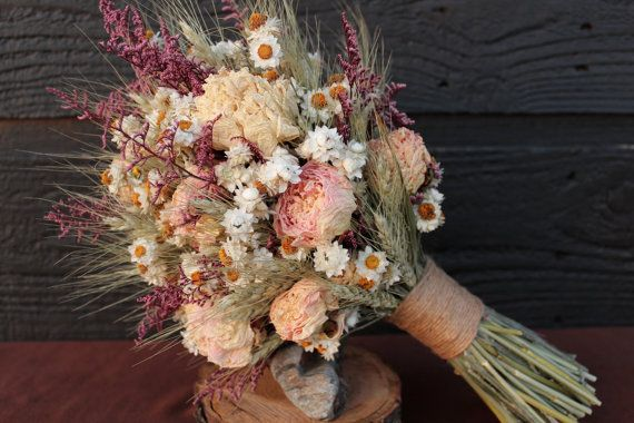 Rustic Farmhouse Medium Wedding Bouquet, Bridal Bouquet, Shabby Chic, Dried Flower Bouquet, Blush Peony Bouquet with Wheat and Wild Flowers on Etsy, $62.43 CAD