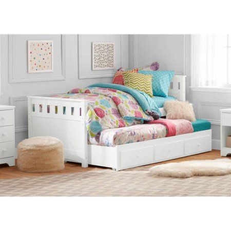 Better Homes and Gardens Kids Pine Creek Twin Captain's Bed with Trundle, White Finish - Walmart.com