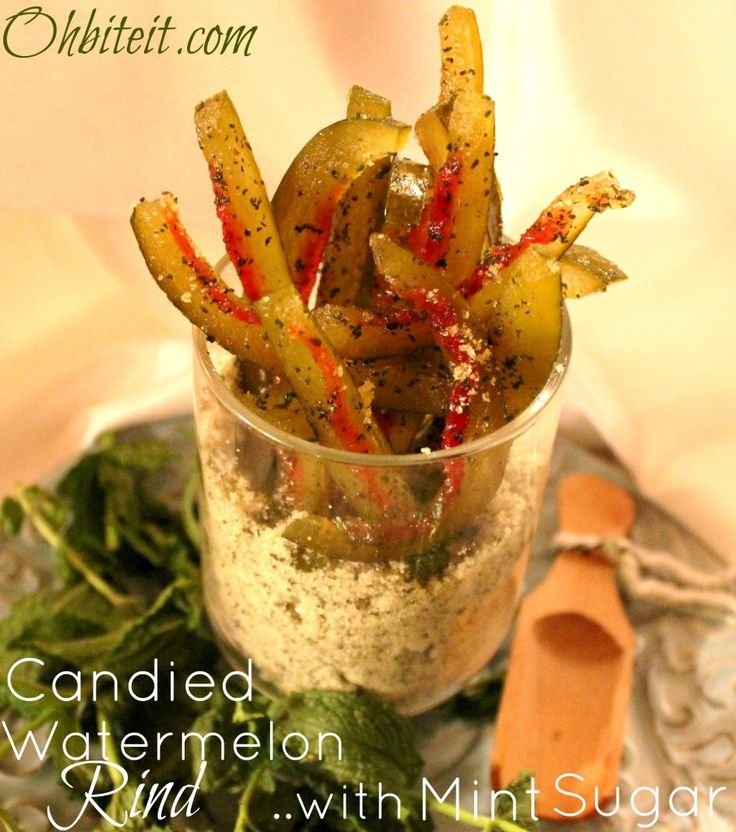 ~Candied Watermelon Rind..with Mint Sugar!