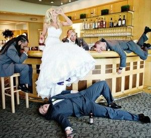 Another drinking related wedding photo, but we must admit that this one