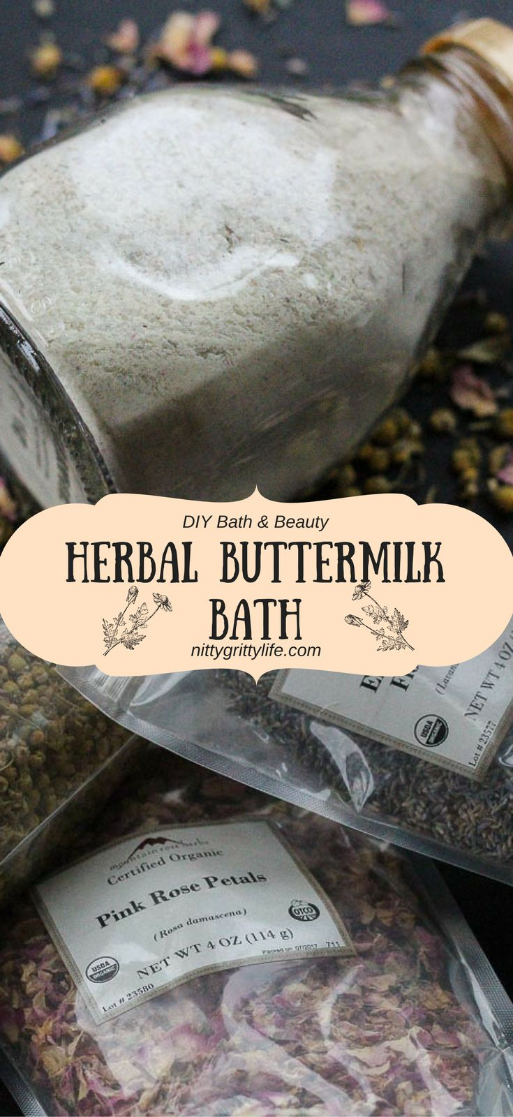 An indulgent soak to leave you radiant and relaxed, this herbal buttermilk bath with Epsom salts is a perfect DIY blend for gifting and spoiling one's self! #buttermilkbath #herbalbath #bathsalts via @nittygrittylife