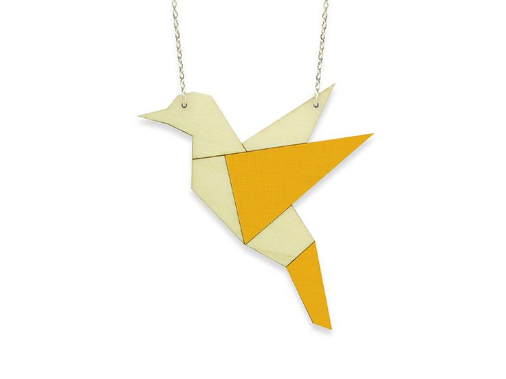Hand painted, laser cut, plywood pendant - Bird by ALIZI DESIGN