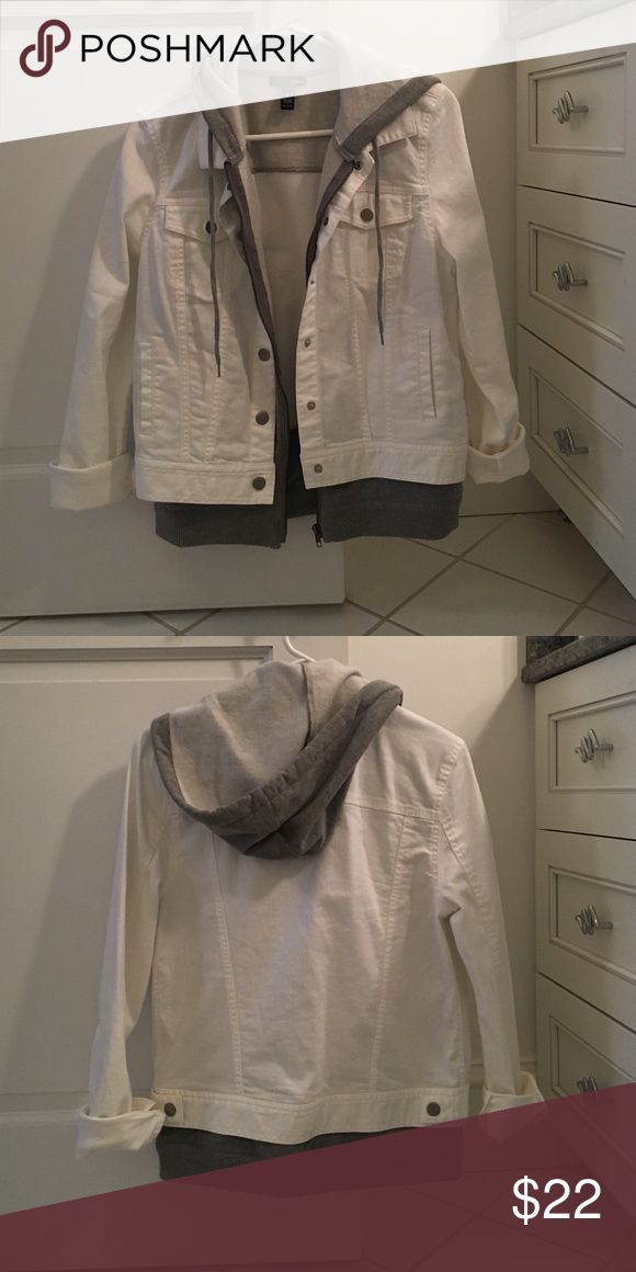 Aqua Jean Jacket White and Grey Hooded Jean Jacket. Never worn! Aqua Jackets & Coats Jean Jackets