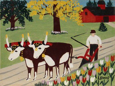Oxen Plowing by Maud Lewis