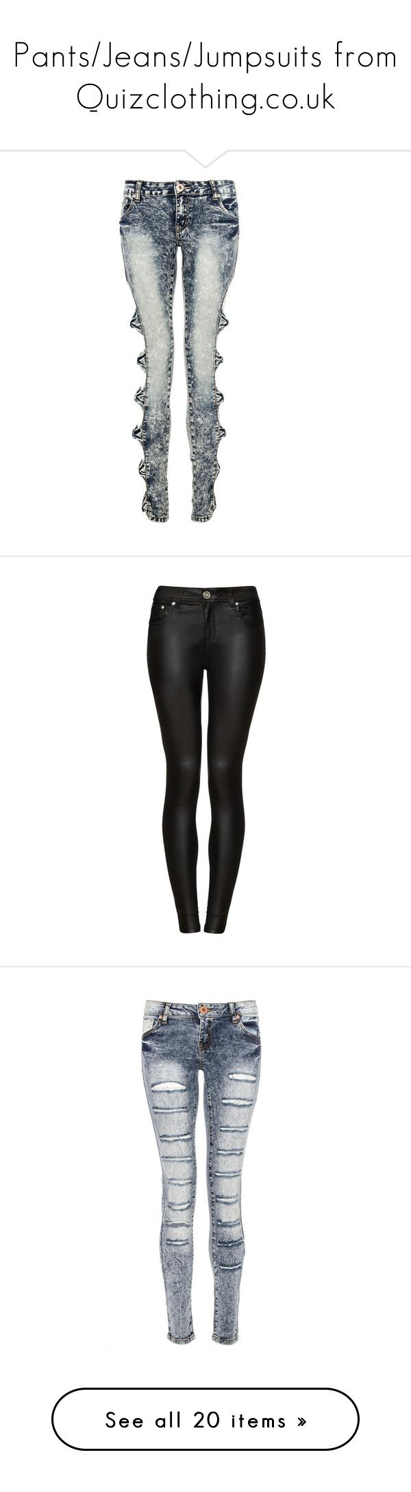 """""""Pants/Jeans/Jumpsuits from Quizclothing.co.uk"""" by surfernurd ❤ liked on Polyvore featuring jeans, white denim jeans, blue jeans, blue denim jeans, white jeans, bow jeans, pants, bottoms, black trousers and shiny stretch pants"""