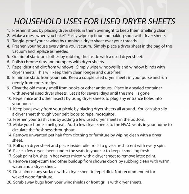 20 Household Dryer Sheet Uses ~ Farmer's Wife Rambles