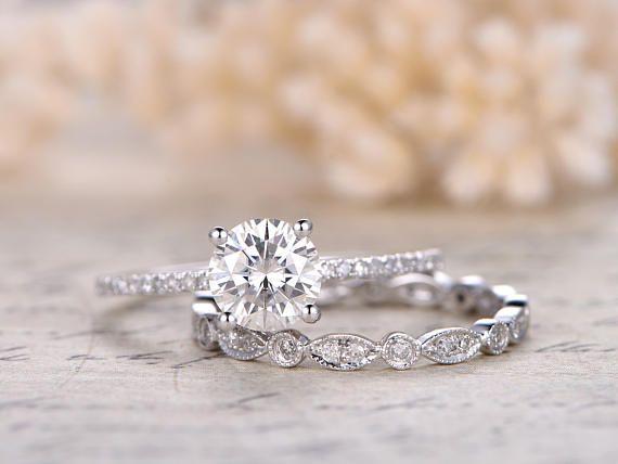 7mm Round Cut Charles & Colvard Moissanite Ring Moissanite Engagement Ring Set,Diamond Wedding Band Solid 14K Rose Gold,Bride Ring,Present