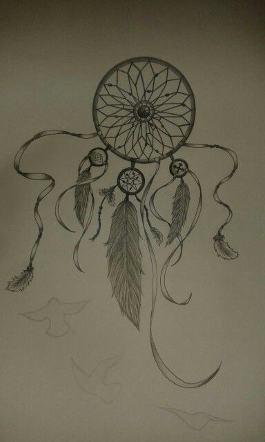 tattoo drawing, add-on, dreamcatcher, feathers, black and white.