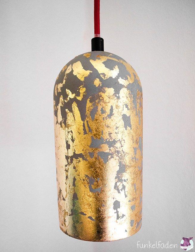 DIY Lampe Aus Beton Mit Gold