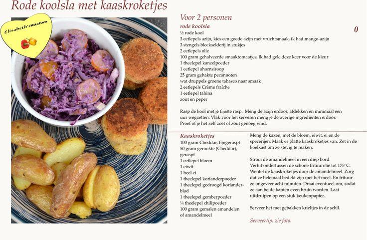 Rode koolsla met mango-azijn uit de eerste foodelicousbox. Kaaskroketjes en gebakken krielaardappelen uit de actifry.  Elisabeth© www.elisabethsmagazine.nl