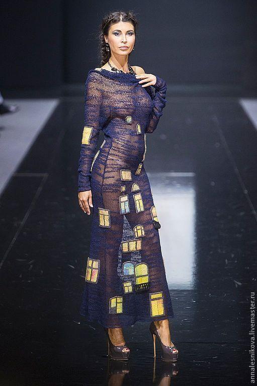 """Купить Платье """"Ночные окна Хундертвассера"""" - тёмно-синий, рисунок, Анна Лесникова, пикассо, ганпи"""