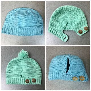 """The Lorraine Ponytail Hat is the perfect alternative to the """"Messy Bun"""" hats that have been so popular lately. Specifically designed for those who cannot wear their bun too high or just prefer a ponytail instead. It features an open back with buttons, but I've also included instructions for a closed back as well. Pattern includes child as well as adult size."""