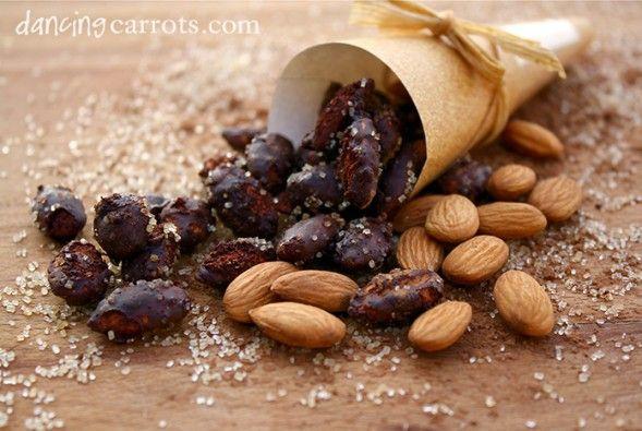 Cocoa Almonds recipe with cinnamon, agave nectar, raw sugar, cocoa powder and sea salt