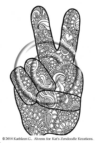 Instant PDF Download Hand Drawn Mehndi Peace Coloring Page Henna Zentangle Inspired Abstract Zendoodle