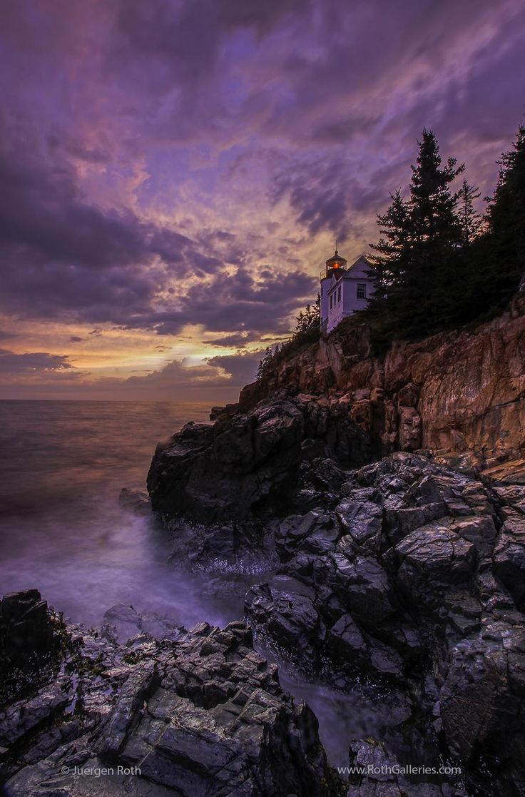 Bass Harbor Light in Maine Acadia National Park - Seascape photography showing the iconic Bass Harbor light in Maine Acadia National Park. This is one of the most iconic New England lighthouses located atop dramatic cliffs. www.RothGalleries.com @NatureFineArt