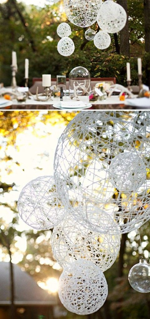 diy twine paper lanterns for outdoor backyard rustic wedding ideas