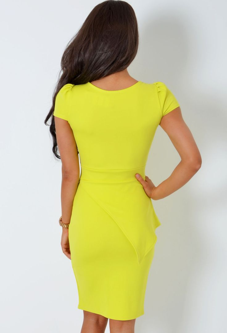 Naanaa Lace Up Front Midi Bodycon Dress With 3/4 Sleeve in Yellow