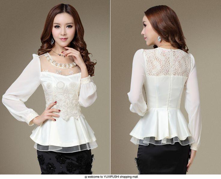 Camisa Feminina осень элегантность женщины топы с оборками приталенный белый шифон блузка полный рукавами кружево рубашка Blusas купить на AliExpress