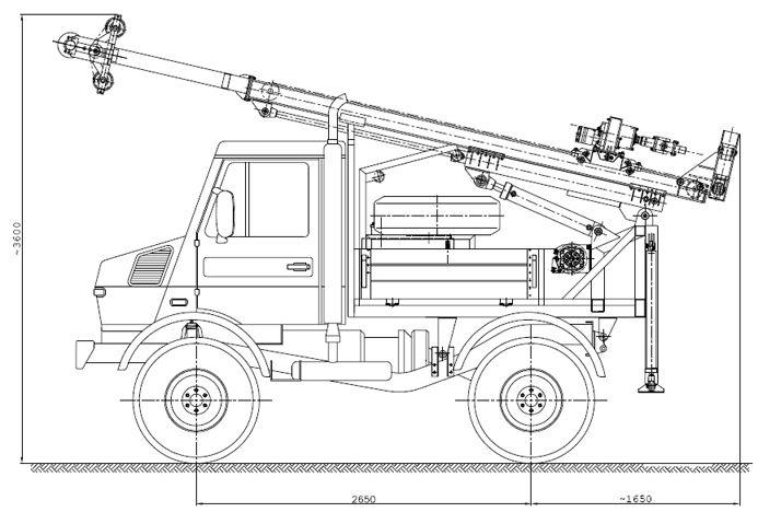 Wiertnica typ H25S w położeniu transportowym