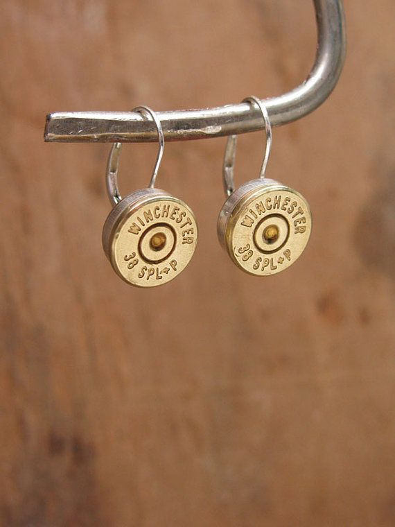 Bullet Casing Jewelry - Brass Winchester 38 Special Bullet Casing STERLING SILVER Leverbacks / Bezel Cup Earrings