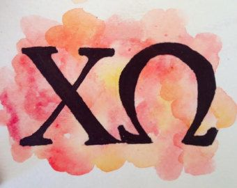 Chi Omega Letters Watercolor Painting