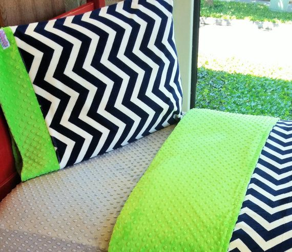 Boys Seahawks Inspired Twin Bedding, Sports Bedding, Navy Chevron and Lime. This 3 piece set includes a duvet cover, fitted sheet & standard pillowcase. USA Made by Elonka Nichole Designs