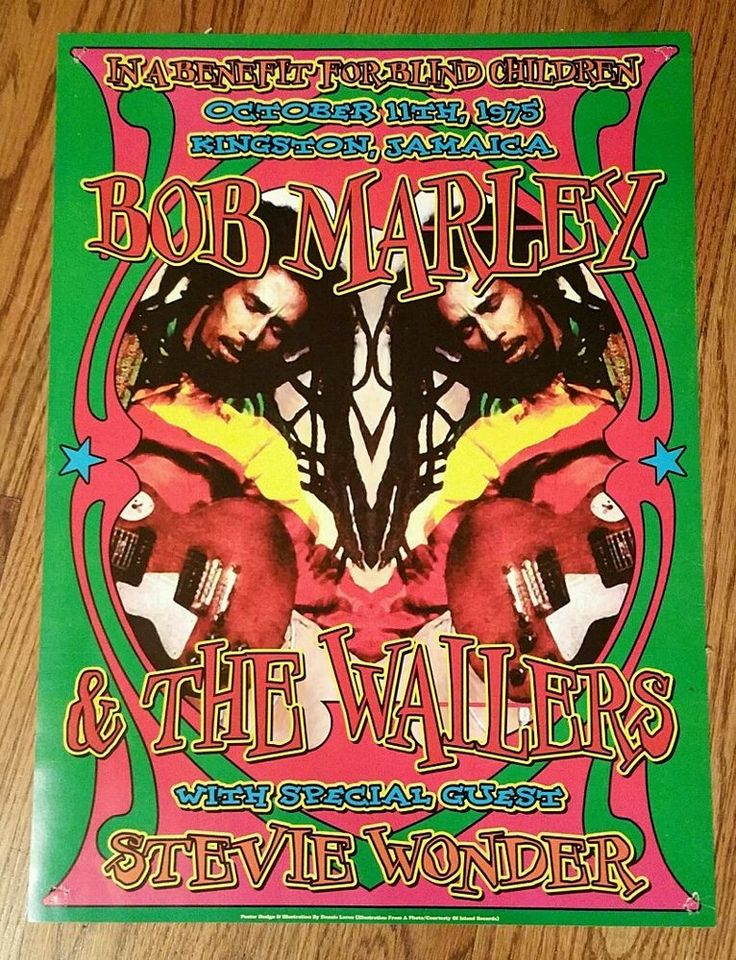 Bob Marley & Wailers Stevie Wonder 1975 Reggae  Concert Poster Kingston…