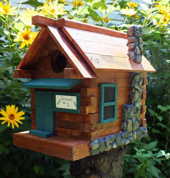 Hande Made Log Cabin Style Birdhouse School By Danshandy