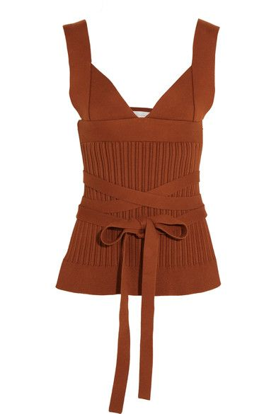 Victoria Beckham - Open-back Ribbed-knit Stretch-cotton Wrap Top - Brown - 1