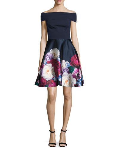 TRR8E Ted Baker London Nersi Blushing Bouquet Floral-Print Off-the-Shoulder Bardot Dress, Navy