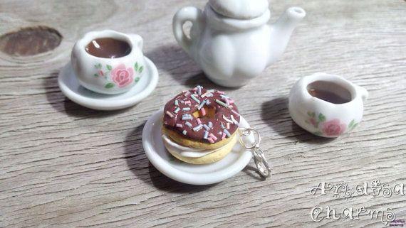 Chocolate Donut Charm Food Jewelry Donut Charm by AndisaCharmsShop