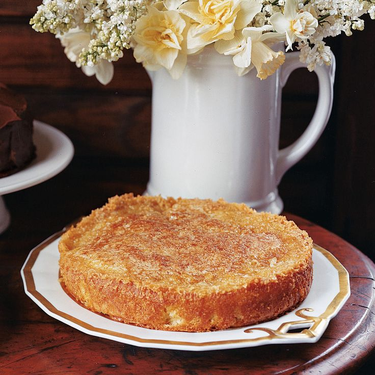 This moist apple cake features a sweet, crackly golden topping.