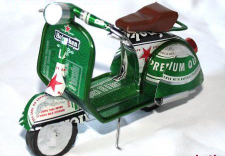 What a cute little scooter made of beer vans