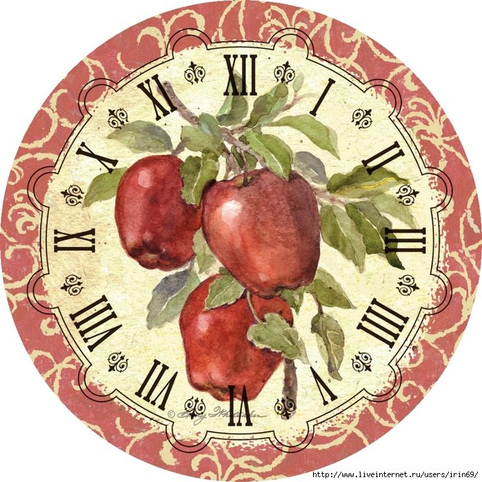 декупаж картинки кухня часы телят