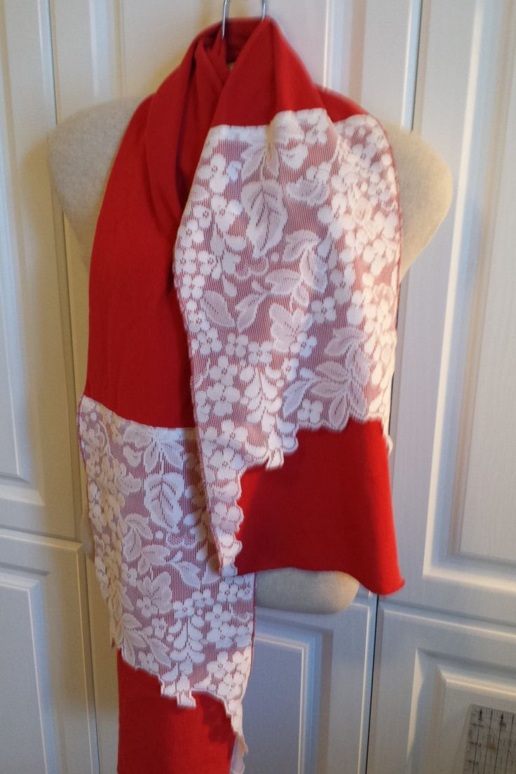 Red Scarf from Recycled Vintage T Shirts and White Lace Curtains -- Ohio State Colors by ConnieSuesCreations on Etsy