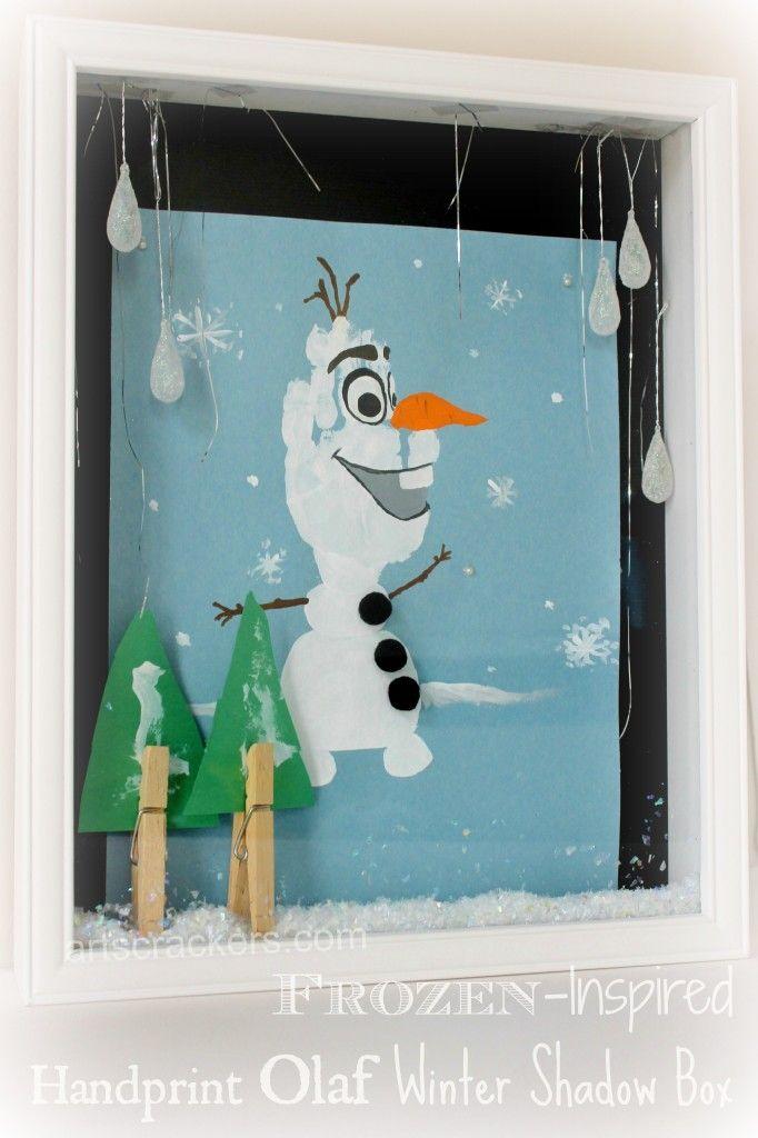 Olaf Handprint Snowman Winter Shadow Box craft for kids