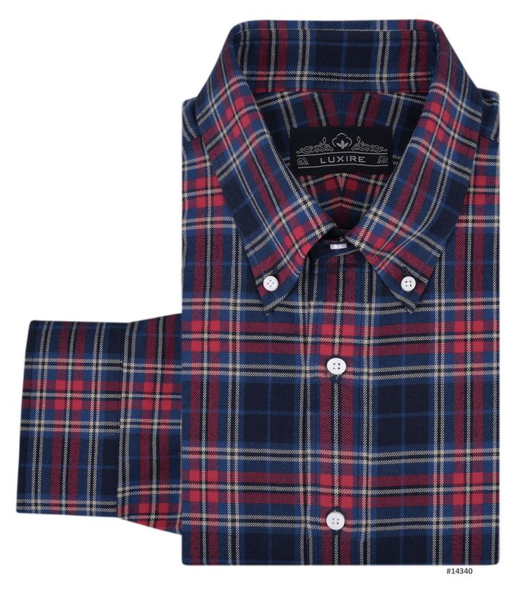 Red Blue Tartan - Twill Flannel - Bespoke Shirts by Luxire. Custom made to Perfection