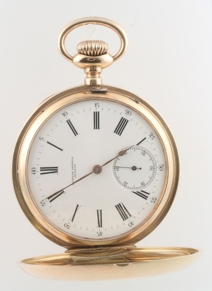 Lot 746d, A 14ct yellow gold hunter pocket watch, the dial inscribed Mermod Freres, est £600-800