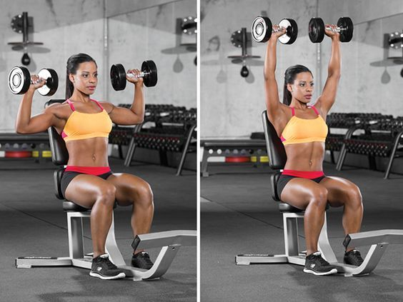 Seated Dumbbell Overhead Press: