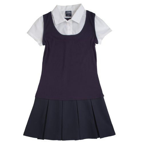 French Toast School Uniform Girls 2-In-1 Pleated Dress Navy 6