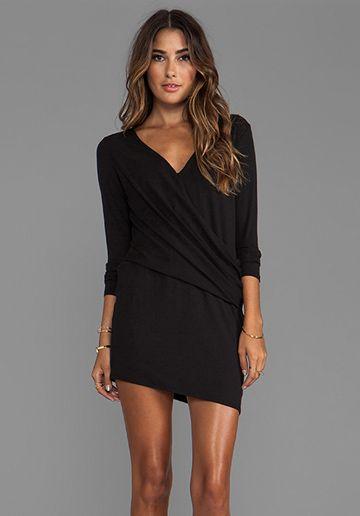 HEATHER Long Sleeve V Tuck Dress in Black