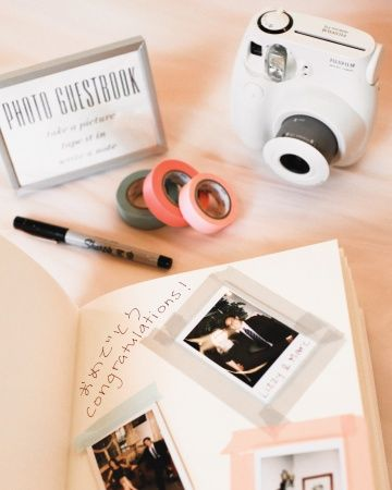 A photo guest book - polaroid and washi tape! Get a cheap but cute polaroid camera, a blank notebook, and washi tape in your chosen colors. Have guests take photos and then leave a message underneath