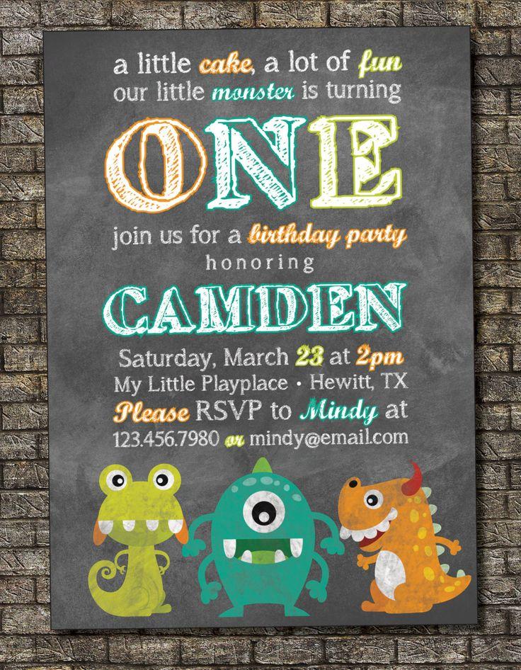 Little Monster Birthday Invitation Boy or Girl Birthday Party Invitation Color Chalkboard Theme with Photo Option 5x7 - Custom Printable by PurplelephantDesigns on Etsy https://www.etsy.com/listing/176461125/little-monster-birthday-invitation-boy