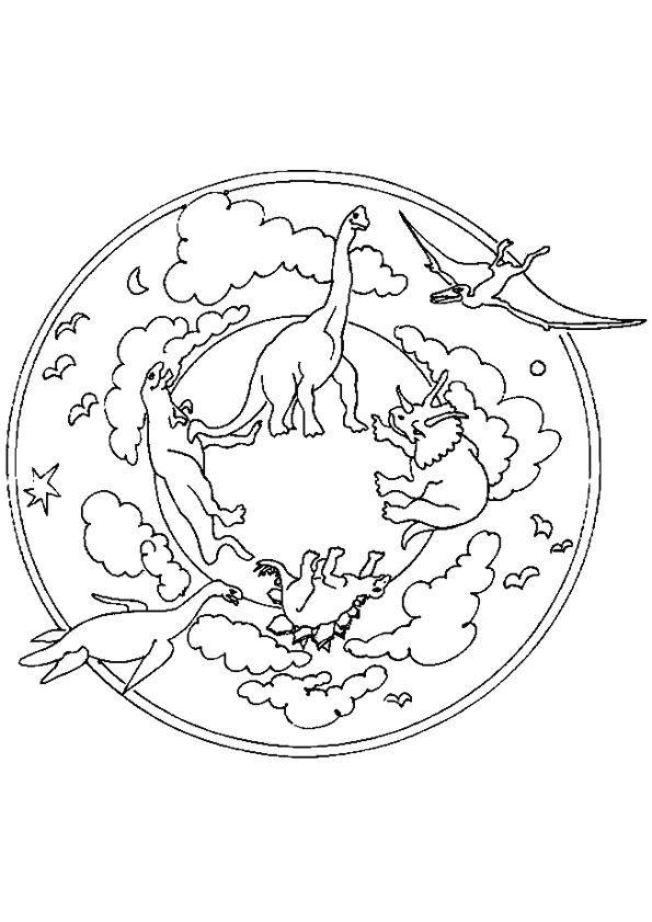 Coloriage Mandala Dinosaures Sur Hugolescargot Com Hugolescargot Com Dinosaurier Ausmalbilder Dinosaurier Ausmalbilder