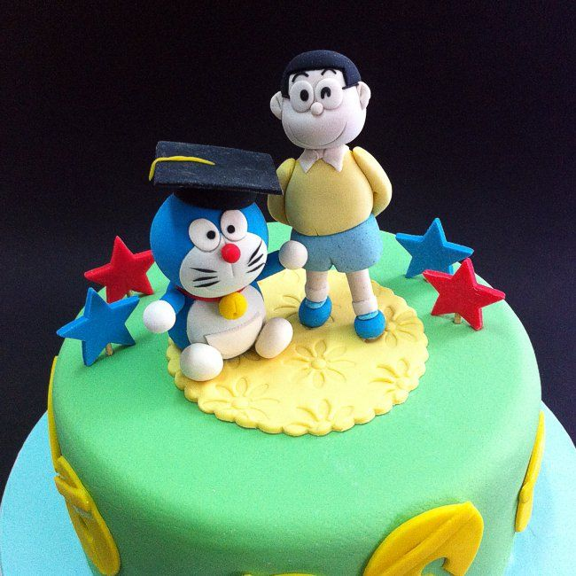 Fondant 3D Nobita & Doraemon  Online personalize your birthday cake to loved one & friend in Kuala Lumpur, Selangor, Johor, Penang, Malaysia. CakeDeliver.com