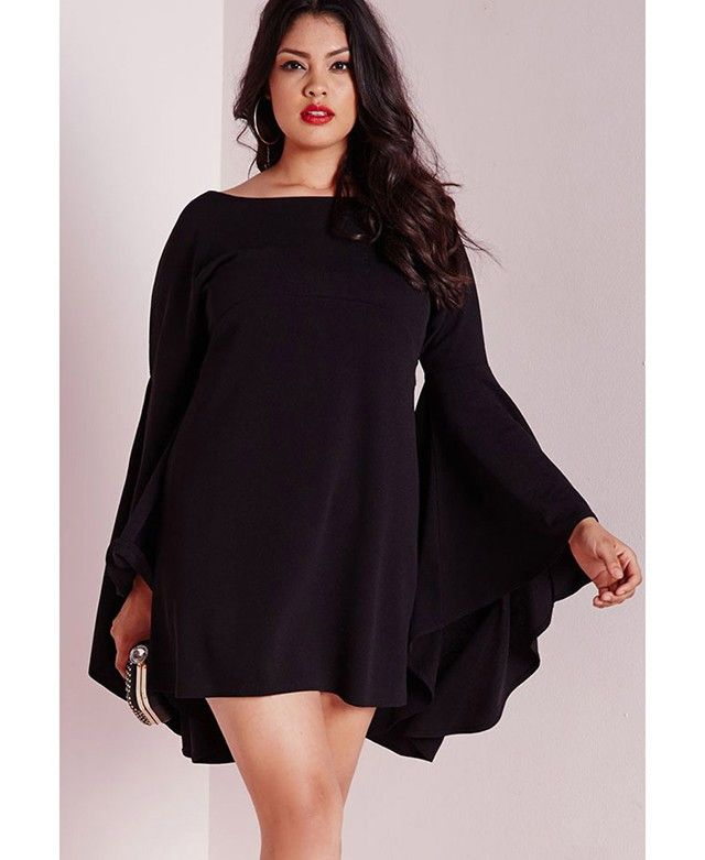 Fabric: polyester Boat neckline Bell sleeves Relaxed fit Oversized Dress, Black Dress 1cm = 0.3937 inch XXL: Bust:37.01-51.18 inch (94-130cm) Length:32.68 inch (83cm) Waist:35.43-48.82 inch (90-124cm)                                                                                                                                                                                 More