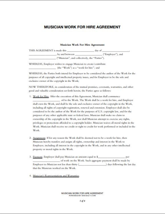 Music Work For Hire Agreement Template Work For Hire Agreement